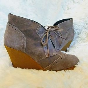 On Trend Grey Suede Oxford Ankle Bootie